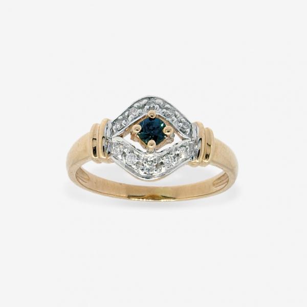 Ювелирное кольцо из красного золота 585 пробы с сапфиром и бриллиантами RS-9039