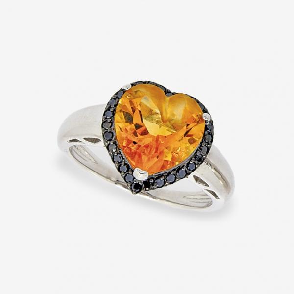 Ювелирное кольцо из белого золота 585 пробы с цитрином и чёрными бриллиантами RCtDb-6608w