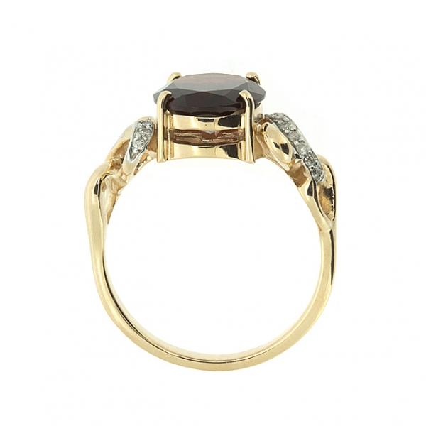 Ювелирное кольцо из красного золота 585 пробы с гранатом и бриллиантами RGn-6280