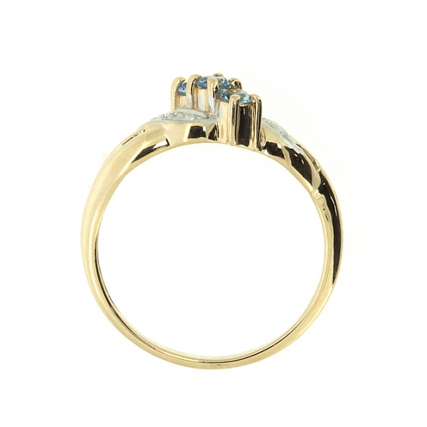 Ювелирное кольцо из красного золота 585 пробы с топазами и бриллиантами RT-6053