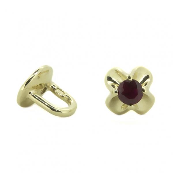 Золотые серьги-пусеты в красном золоте с рубинами ER-6558