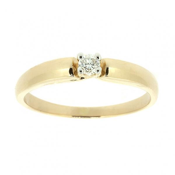 Ювелирное кольцо из красного золота 585 пробы с бриллиантом RD-6772