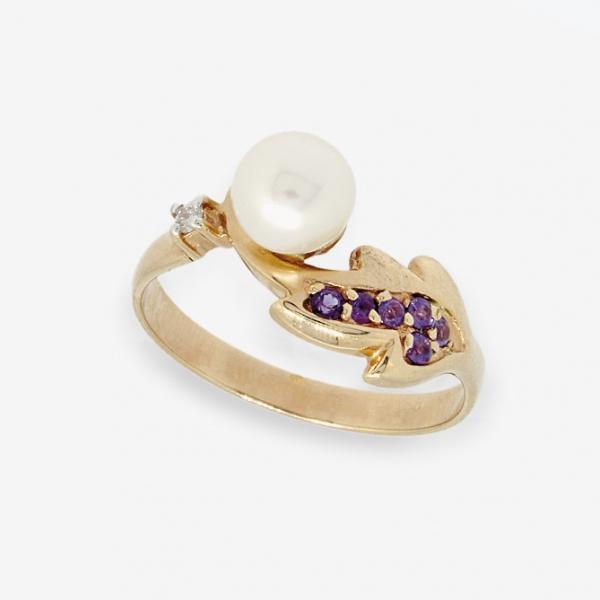 Ювелирное кольцо из красного золота 585 пробы c жемчугом, аметистами и бриллиантом RDPAm-6667
