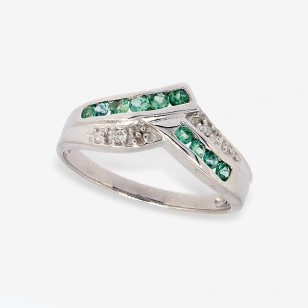 Ювелирное кольцо из белого золота 585 пробы с изумрудами и бриллиантами RE-13341w