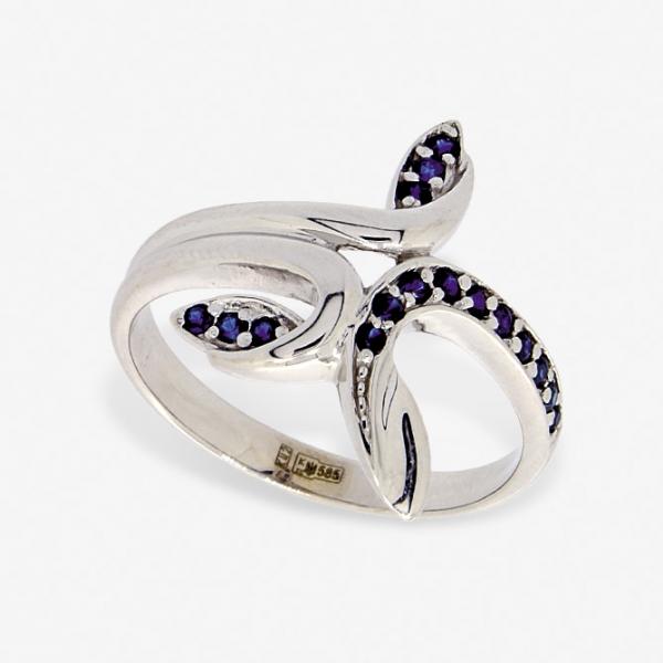 Ювелирное кольцо из белого золота 585 пробы с сапфирами RS-6545w
