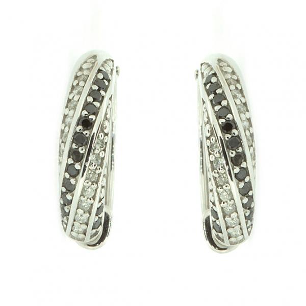 Ювелирные серьги из белого золота 585 пробы с бриллиантами и чёрными бриллиантами EDDb-5530w