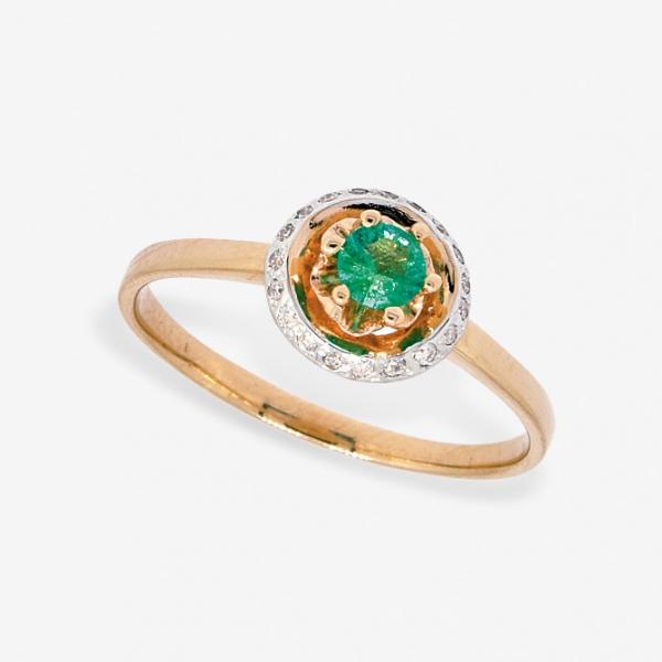 Ювелирное кольцо из красного золота 585 пробы с изумрудом и бриллиантами RE-6679