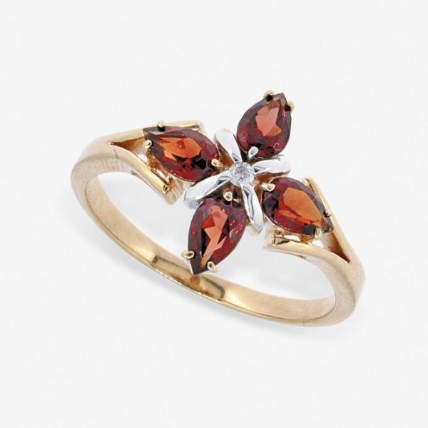 Ювелирное кольцо из красного золота 585 пробы с гранатами и бриллиантом RGn-5504