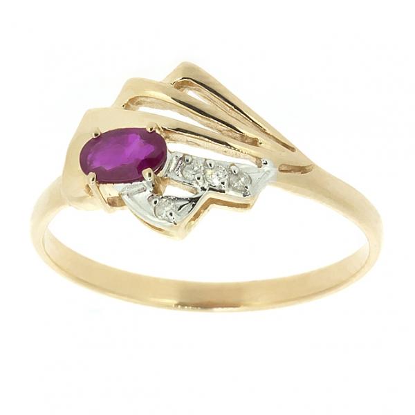 Ювелирное кольцо из красного золота 585 пробы с рубином и бриллиантами RR-6736