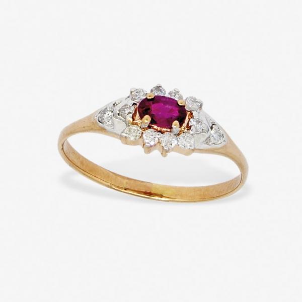 Ювелирное кольцо из красного золота 585 пробы с рубином и бриллиантами RR-6742