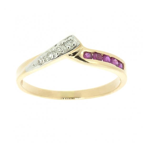Ювелирное кольцо из красного золота 585 пробы с рубинами и бриллиантами RR-8841