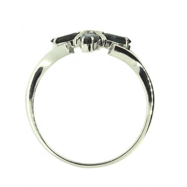 Ювелирное кольцо из белого золота 585 пробы с сапфирами и бриллиантом RS-5504w