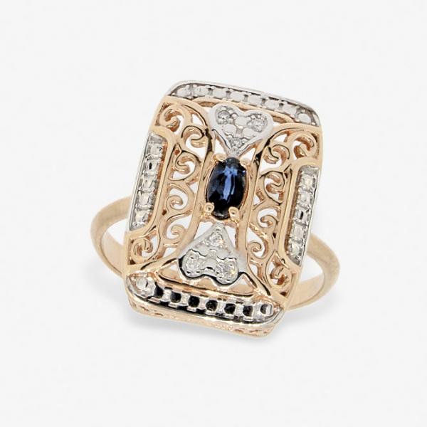 Ювелирное кольцо из красного золота 585 пробы с сапфиром и бриллиантами RDS-6755