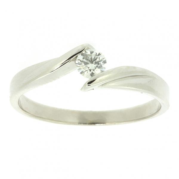 Ювелирное кольцо из белого золота 585 пробы с бриллиантом RD-6676w