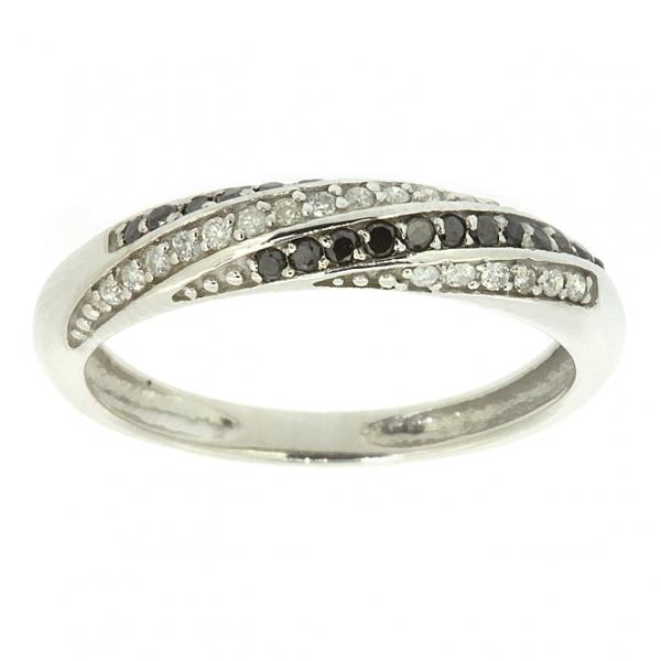 Ювелирное кольцо из белого золота 585 пробы с бриллиантами и чёрными бриллиантами RDDb-5529w