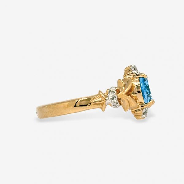 Ювелирное кольцо из красного золота 585 пробы с топазом и бриллиантами RT-6640