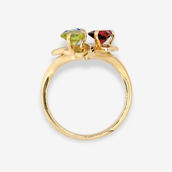 Ювелирное кольцо из жёлтого золота 585 пробы с гранатом, топазом и хризолитом RTGnPd-6617y