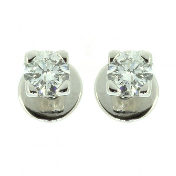 Золотые серьги-пусеты в белом золоте с бриллиантами ED-6559w