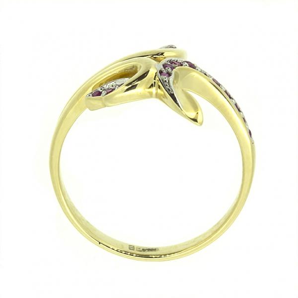 Ювелирное кольцо из жёлтого золота 585 пробы с рубинами RR-6545y