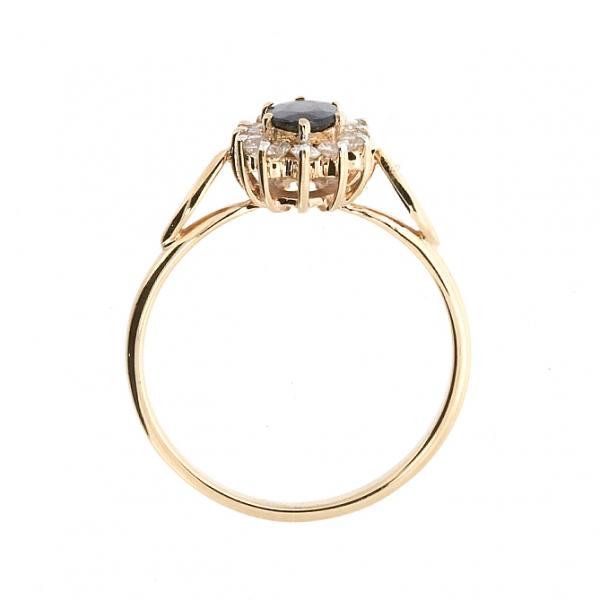 Ювелирное кольцо из красного золота 585 пробы с сапфиром и бриллиантами RDS-5525