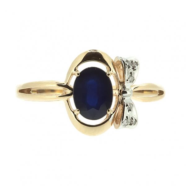 Ювелирное кольцо из красного золота 585 пробы с сапфиром и бриллиантами RDS-6754