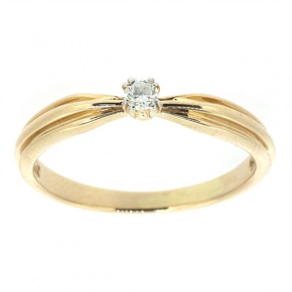 Ювелирное кольцо из красного золота 585 пробы с бриллиантом RD-5520