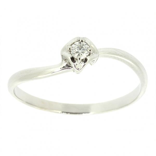 Ювелирное кольцо из белого золота 585 пробы с бриллиантом RD-6779w