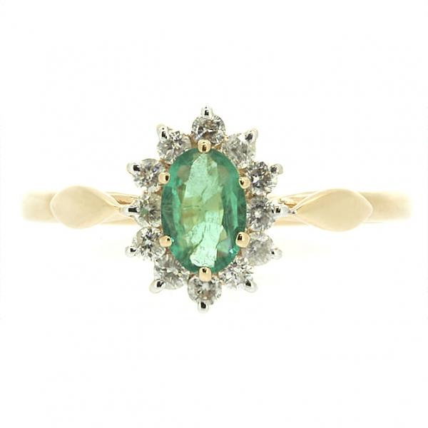 Ювелирное кольцо из красного золота 585 пробы с изумрудом и бриллиантами RDE-5525