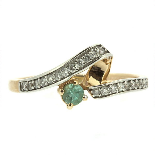 Ювелирное кольцо из красного золота 585 пробы с изумрудом и бриллиантами RDE-5528