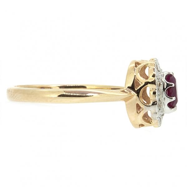 Ювелирное кольцо из красного золота 585 пробы с рубином и бриллиантами RR-5502