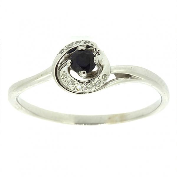 Ювелирное кольцо из белого золота 585 пробы с сапфиром и бриллиантами RS-6681w