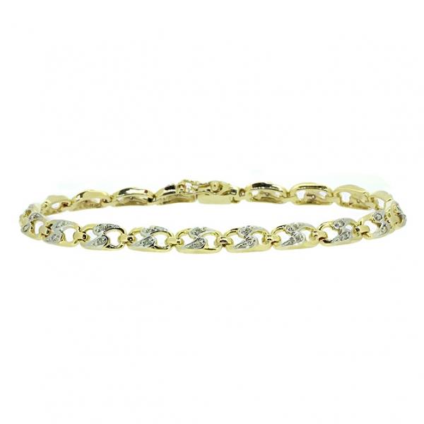 Ювелирный браслет из жёлтого золота 585 пробы с бриллиантами BC-1001/21y