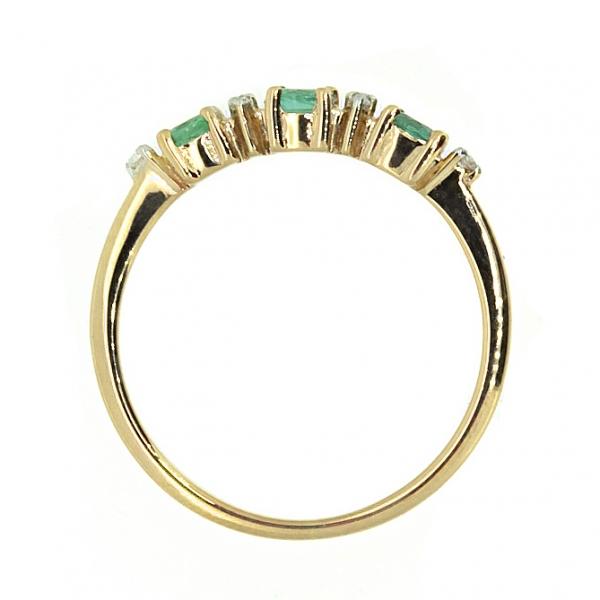 Ювелирное кольцо из красного золота 585 пробы с изумрудами и бриллиантами RE-6658