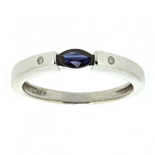 Ювелирное кольцо из белого золота 585 пробы с сапфиром и бриллиантами RS-6049w