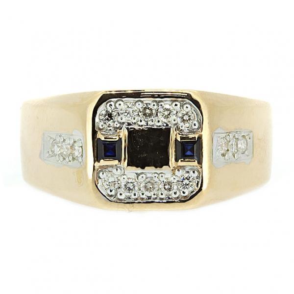 Ювелирное кольцо из красного золота 585 пробы с сапфирами и бриллиантами RS-6598
