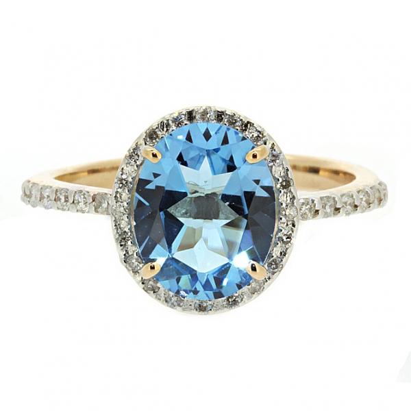 Ювелирное кольцо из красного золота 585 пробы с топазом и бриллиантами RT-6603