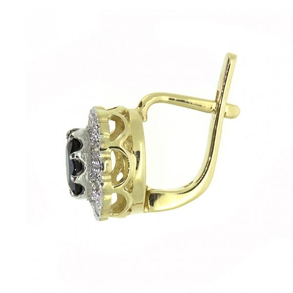 Ювелирные серьги из жёлтого золота 585 пробы с сапфирами и бриллиантами ES-5503y