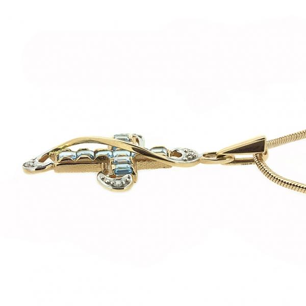 Ювелирная подвеска из красного золота 585 пробы с топазами и бриллиантами PT-6198