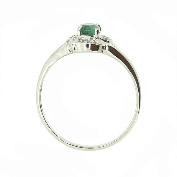Ювелирное кольцо из белого золота 585 пробы с изумрудом и бриллиантами RE-621w