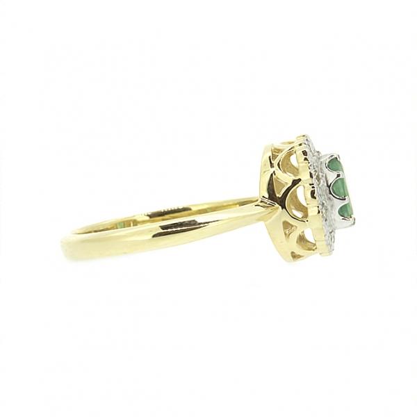 Ювелирное кольцо из жёлтого золота 585 пробы с изумрудом и бриллиантами RE-5502y