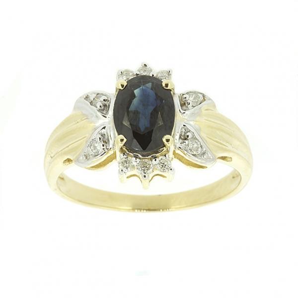 Ювелирное кольцо из жёлтого золота 585 пробы с сапфиром и бриллиантами RS-1101y
