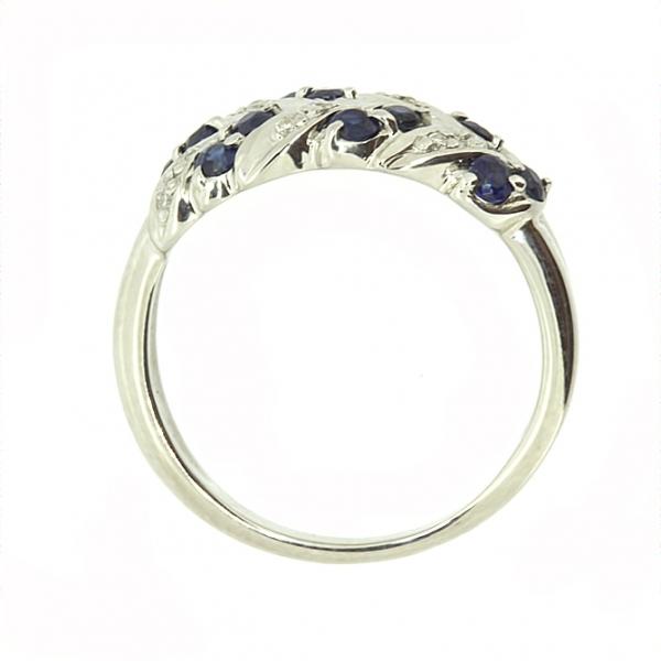 Ювелирное кольцо из белого золота 585 пробы с сапфирами и бриллиантами RS-15089w