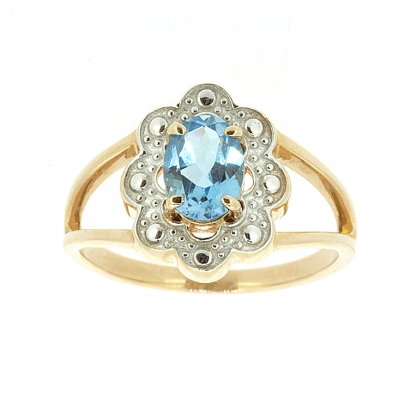 Ювелирное кольцо из красного золота 585 пробы с топазом RT-6714