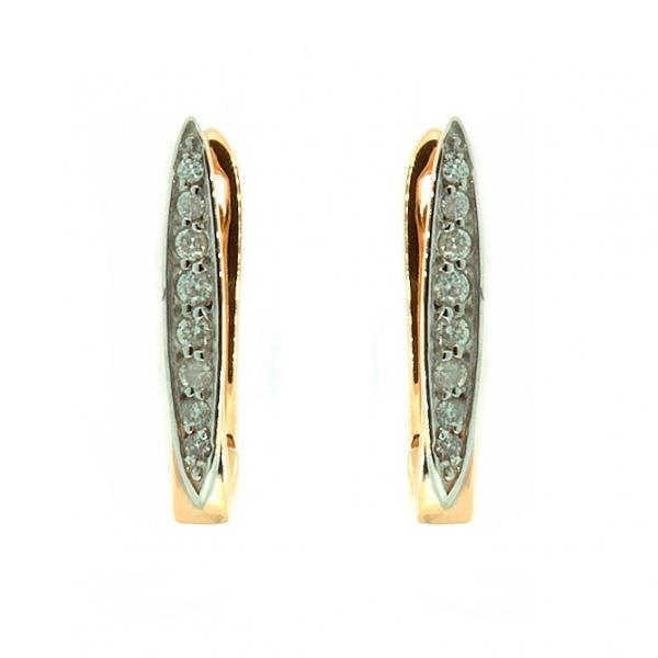 Серьги трансформеры из красного золота 585 пробы с бриллиантами ED-6786