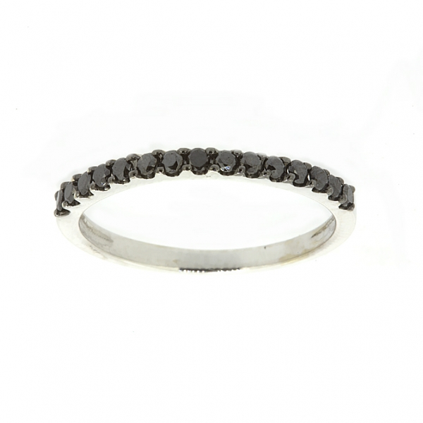 Ювелирное кольцо из белого золота 585 пробы с чёрными бриллиантами RDb-15446w