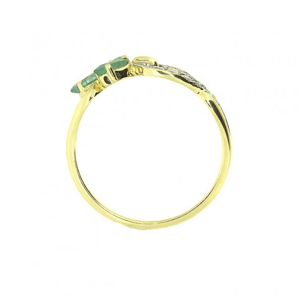 Ювелирное кольцо из жёлтого золота 585 пробы с изумрудами и бриллиантами RE-6536y