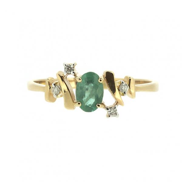 Ювелирное кольцо из красного золота 585 пробы с изумрудом и бриллиантами RE-6675