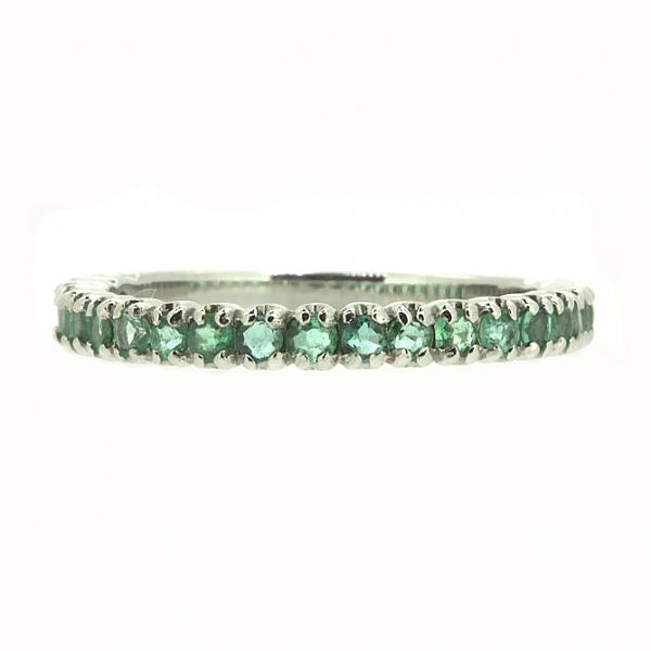 Ювелирное кольцо из белого золота 585 пробы с изумрудами RE-15011w