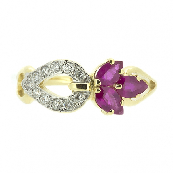 Ювелирное кольцо из жёлтого золота 585 пробы с рубинами и бриллиантами RR-6536y