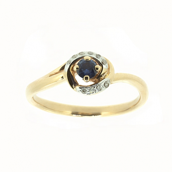 Ювелирное кольцо из красного золота 585 пробы с сапфиром и бриллиантами RS-6681